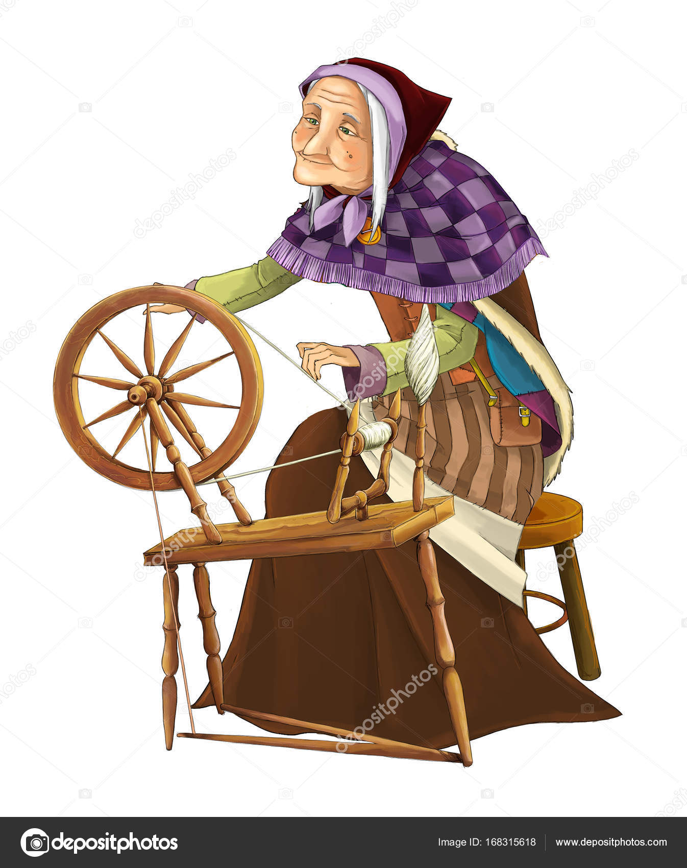 Cartoon sorceress image | Cartoon Older Woman Spinning Wheel
