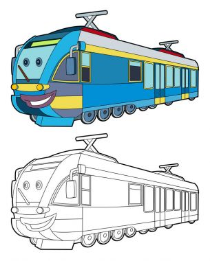 Cartoon fast electric train smiling - coloring page - illustration for children