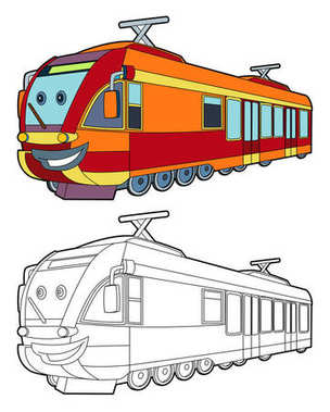 Cartoon fast electric train smiling - coloring page - illustration for children stock vector