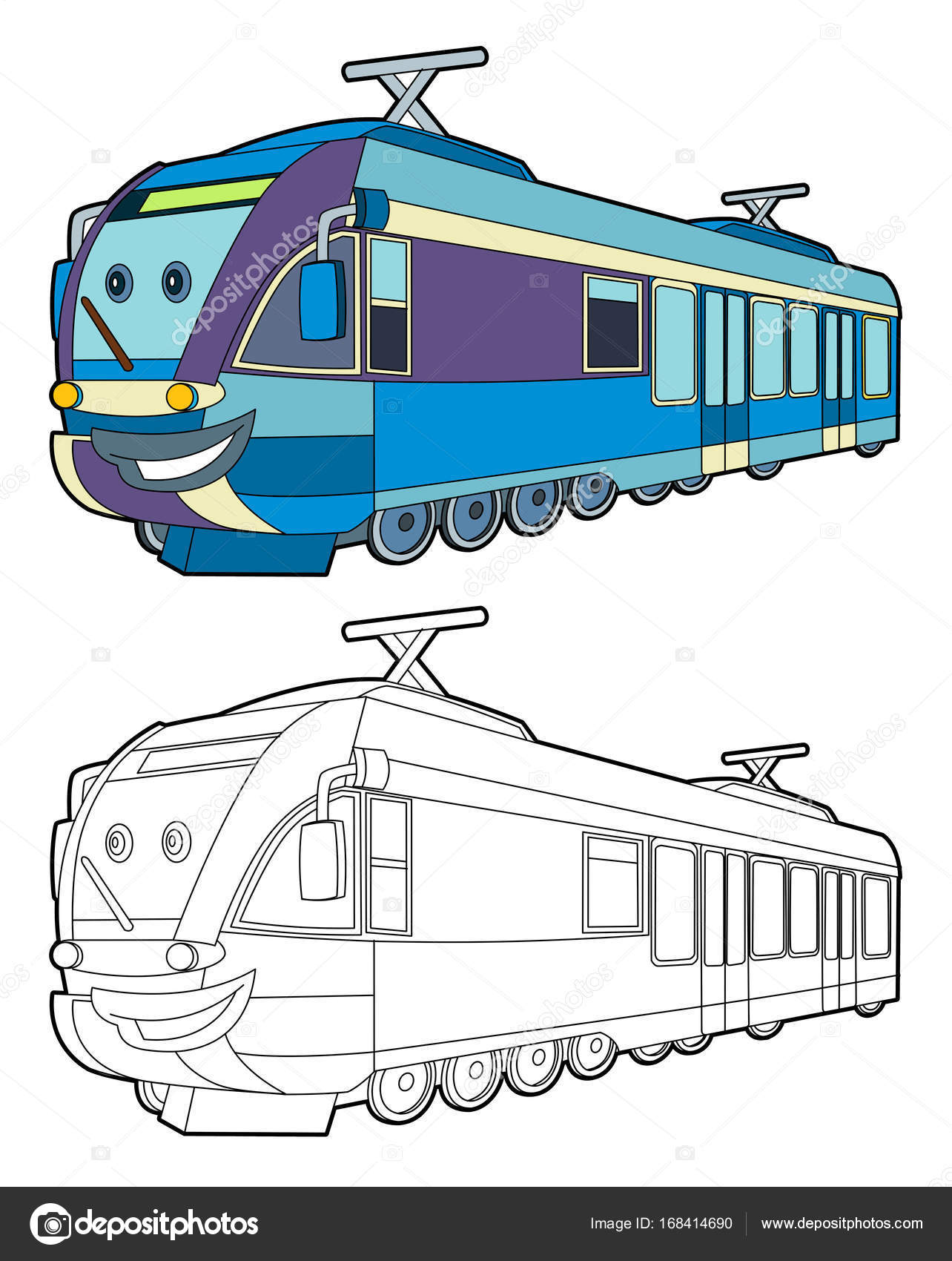 Cartoon Fast Electric Train Smiling Coloring Page Illustration