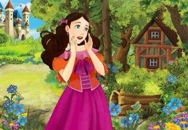 Cartoon scene with some beautiful girl in forest wooden hut - illustration for children