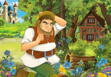 Cartoon scene with some farmer running near wooden hut hidden in forest - illustration for children