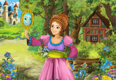 Cartoon scene with some beautiful girl in forest wooden hut looking at the mirror - illustration for children