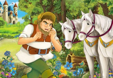 Cartoon scene with some farmer running near wooden hut hidden in forest and two beautiful white horses standing near him - illustration for children