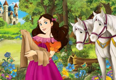 Cartoon scene with some beautiful girl in forest - wooden hut - white horses in the back - illustration for children