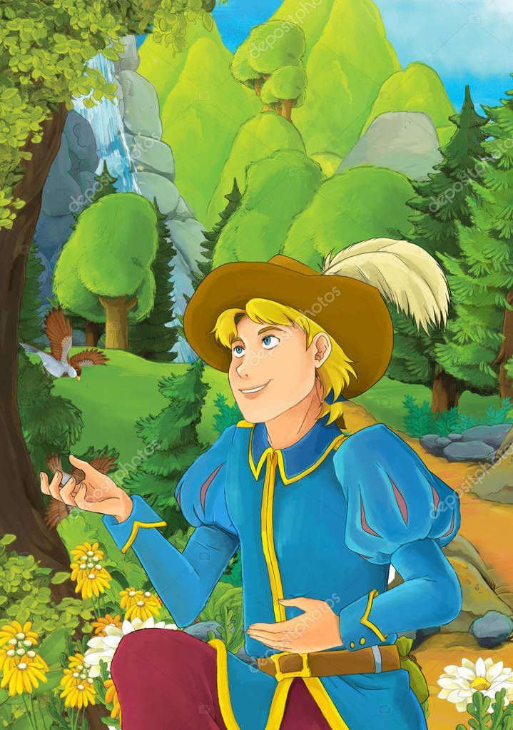 Cartoon scene with some handsome prince in forest - illustration for children