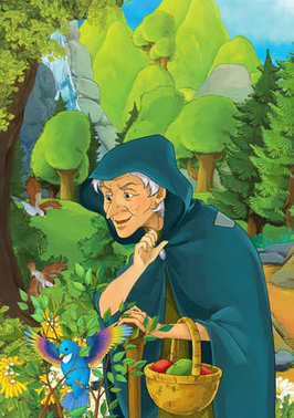 Cartoon scene with some older woman in forest looking at trapped birds - illustration for children