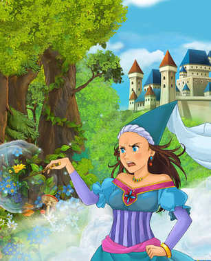 Cartoon scene of beautiful princess in the forest near castle in the background - illustration for children