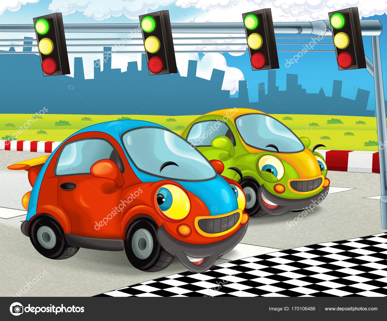 Imagenes Autos De Carreras Animados Escena Dibujos Animados Con