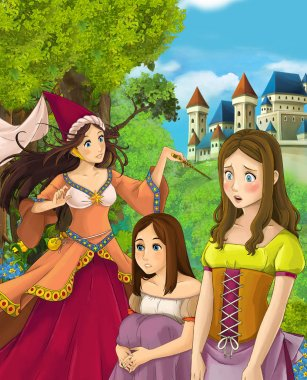 Cartoon scene of beautiful sorceress and two girls in the forest near castle in the background - illustration for children