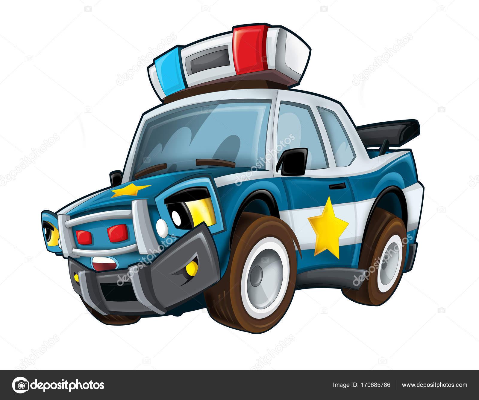 Coche Policía Sonriente Dibujos Animados Ilustración Para Los Niños ...