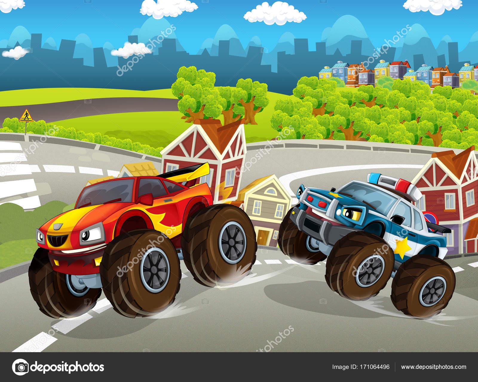Pictures Police Monster Trucks Cartoon Scene Happy Police Monster Truck Ships Planes Background Illustration Stock Photo C Illustrator Hft 171064496