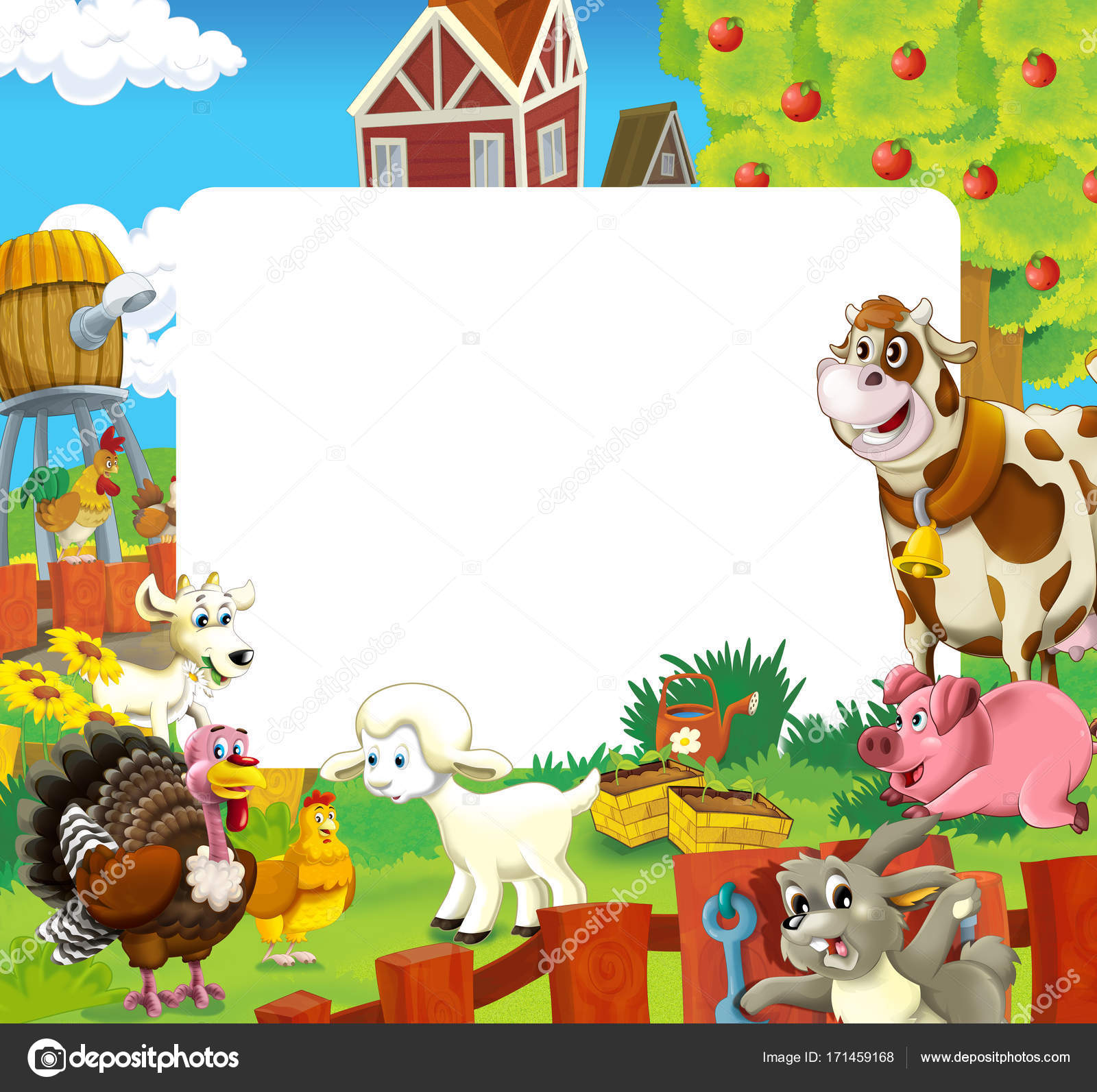 Cartoon Scene Farm Animals Frame Different Usage Illustration ...
