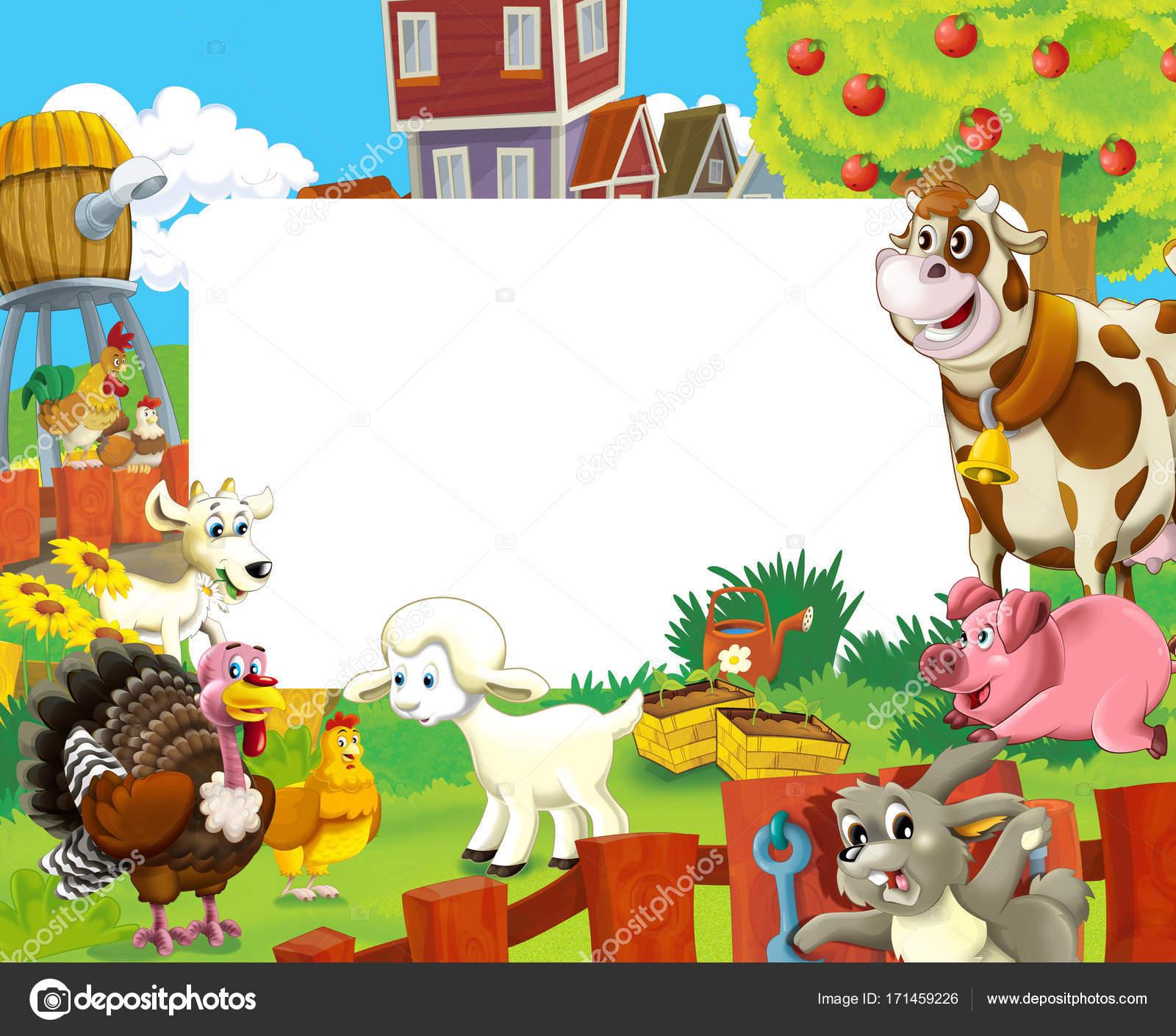 Cartoon Szene Mit Bauernhof Tiere Rahmen Für Die Unterschiedliche ...