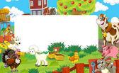 kreslený scény s Farma zvířat - rámec pro různé použití - ilustrace pro děti