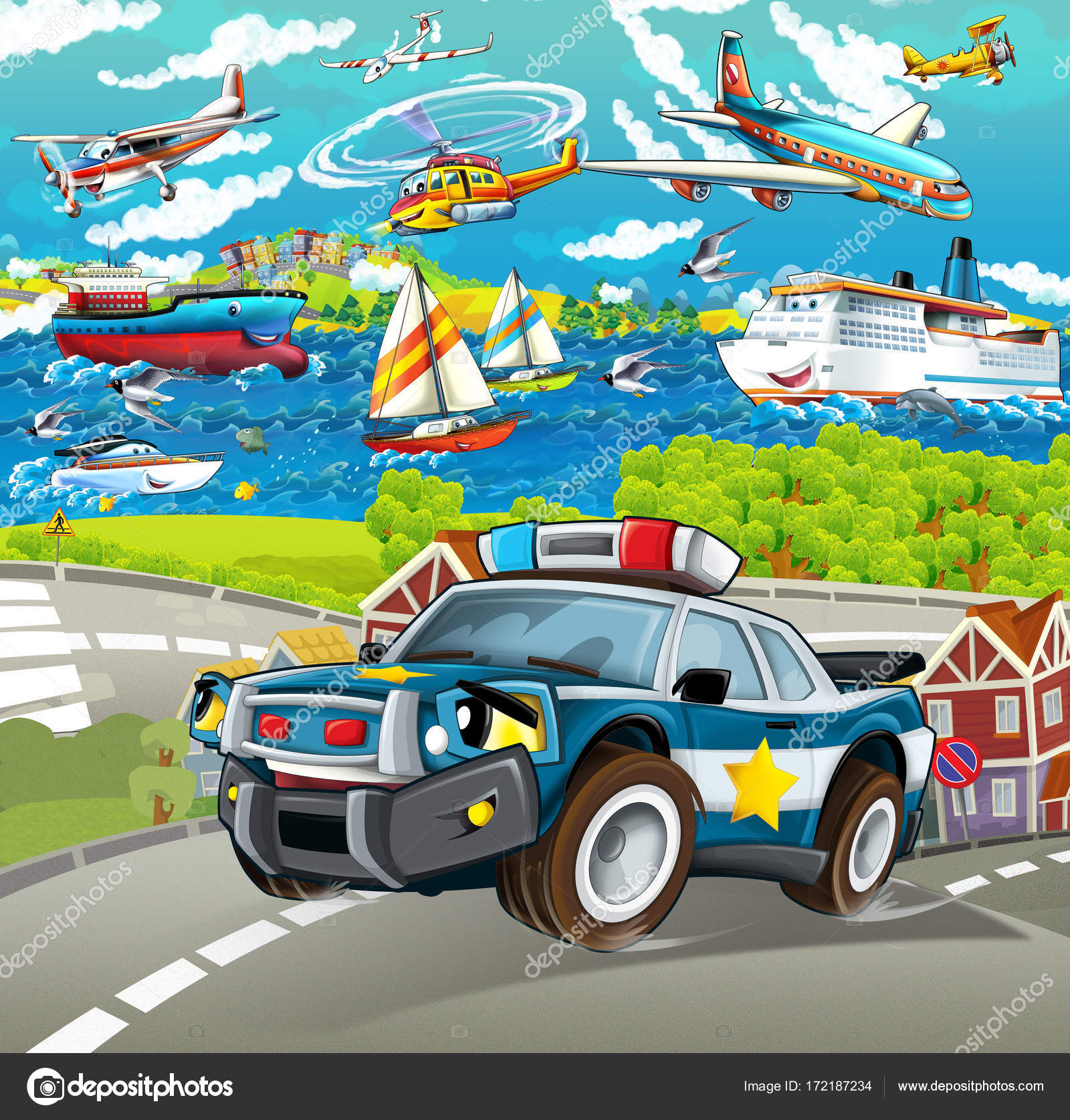 Cartoon Scene Police Car Driving City Planes Ships