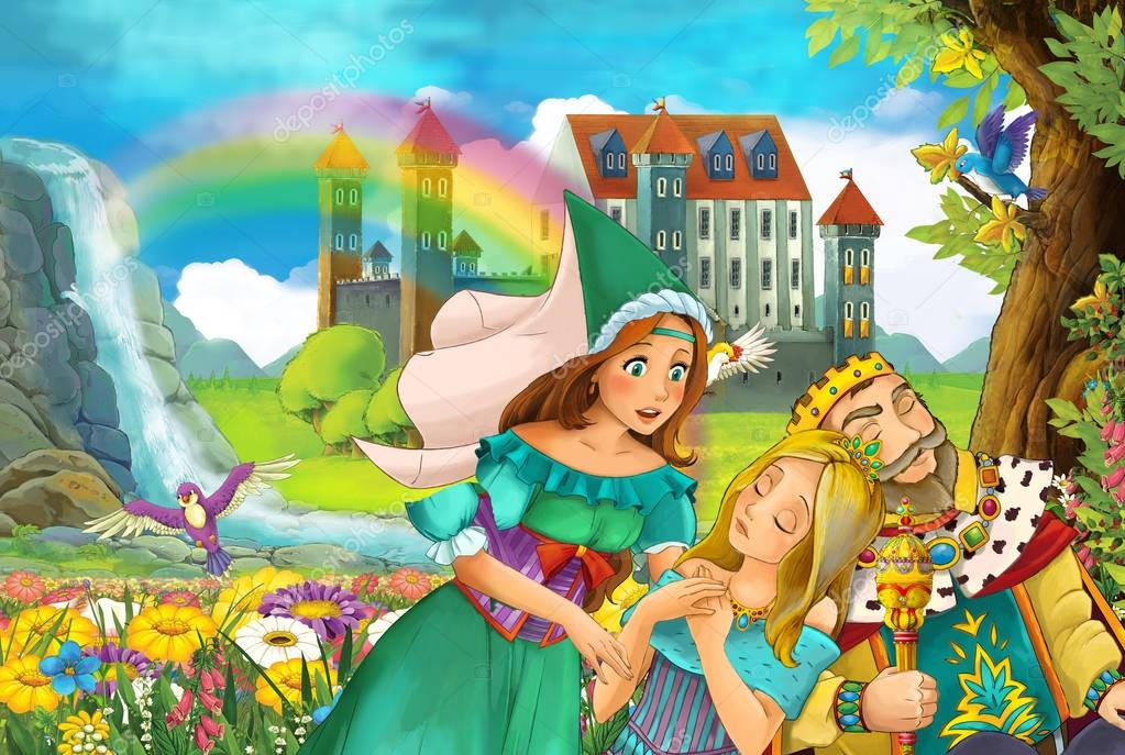 cartoon scene with king and princesses - father and daughters talking illustration for children