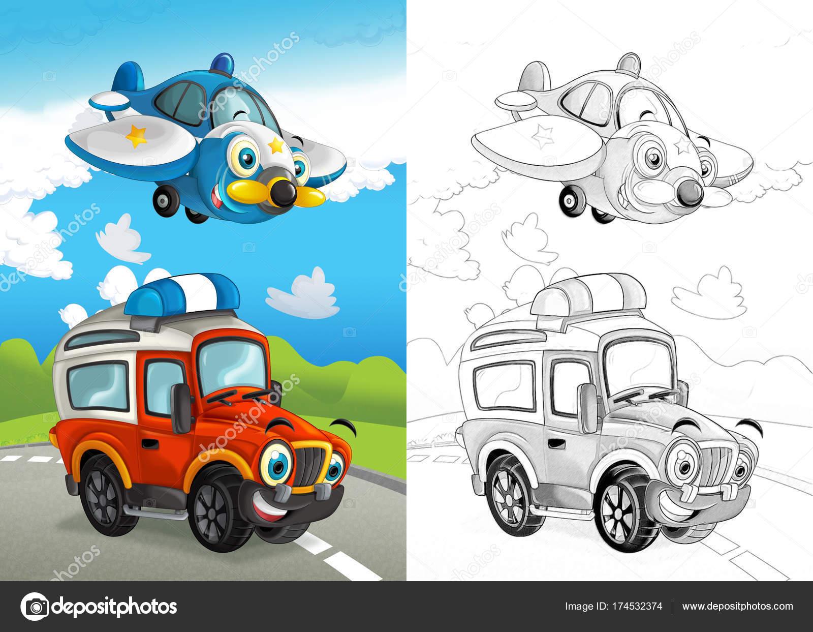 Kapalı Yol Araba Sayfa Gösterim Amacıyla çocuk Boyama Ile Uçan