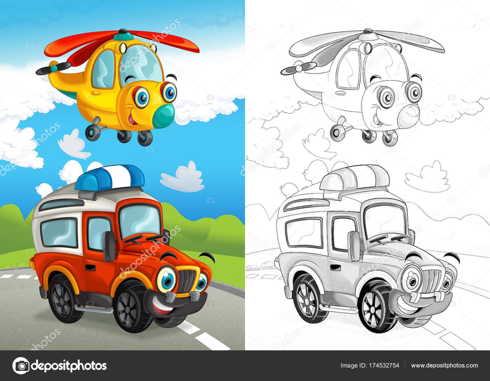 Escena Dibujos Animados Con Bombero Feliz Coche Carretera Camino ...