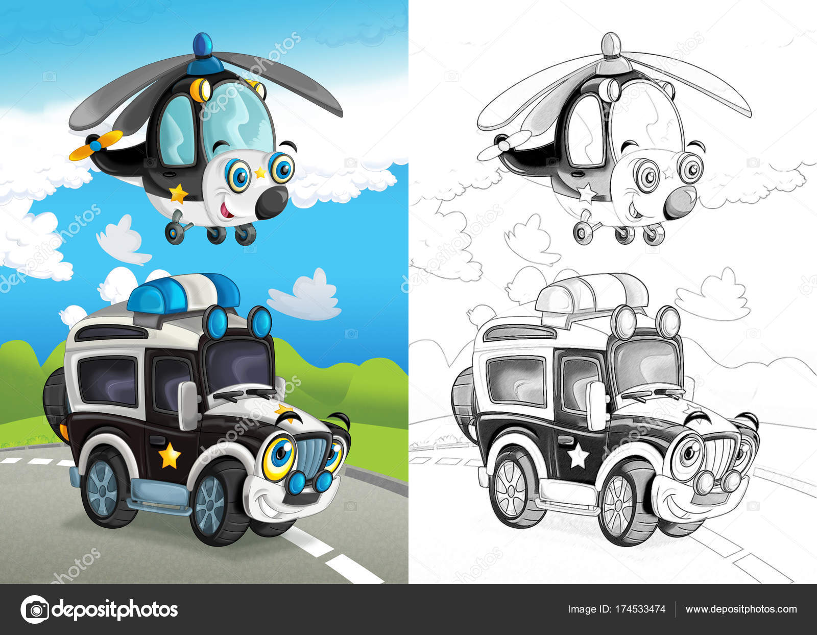 Escena Dibujos Animados Con Equipo Policía Feliz Fuera Carretera ...