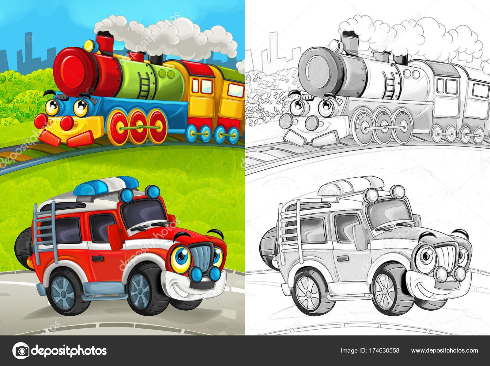Kleurplaten Voertuigen Trein.Cartoon Scene Met Gelukkig Brandweerman Auto Weg Trein Met
