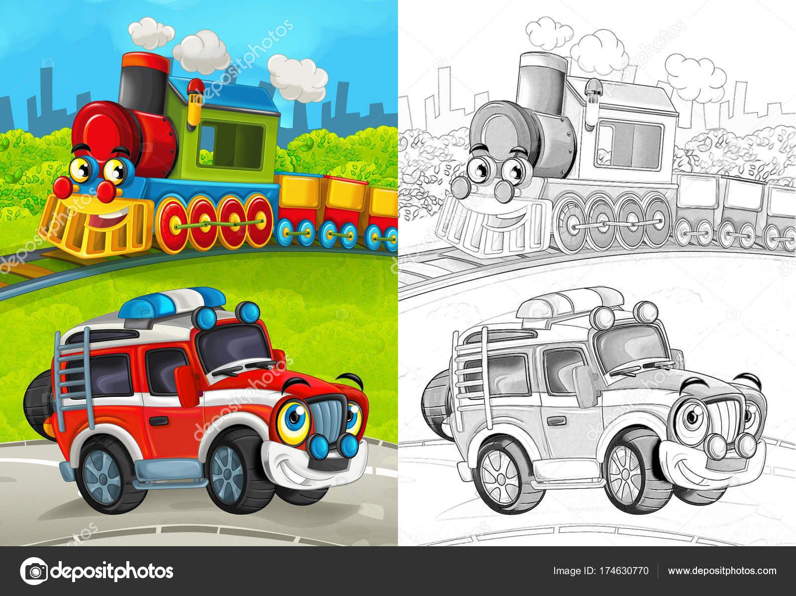 Escena Dibujos Animados Con Coche Bombero Feliz Camino Tren Para ...