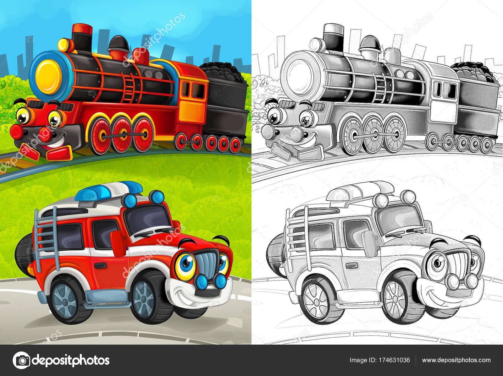 depositphotos stock photo cartoon scene happy fireman car