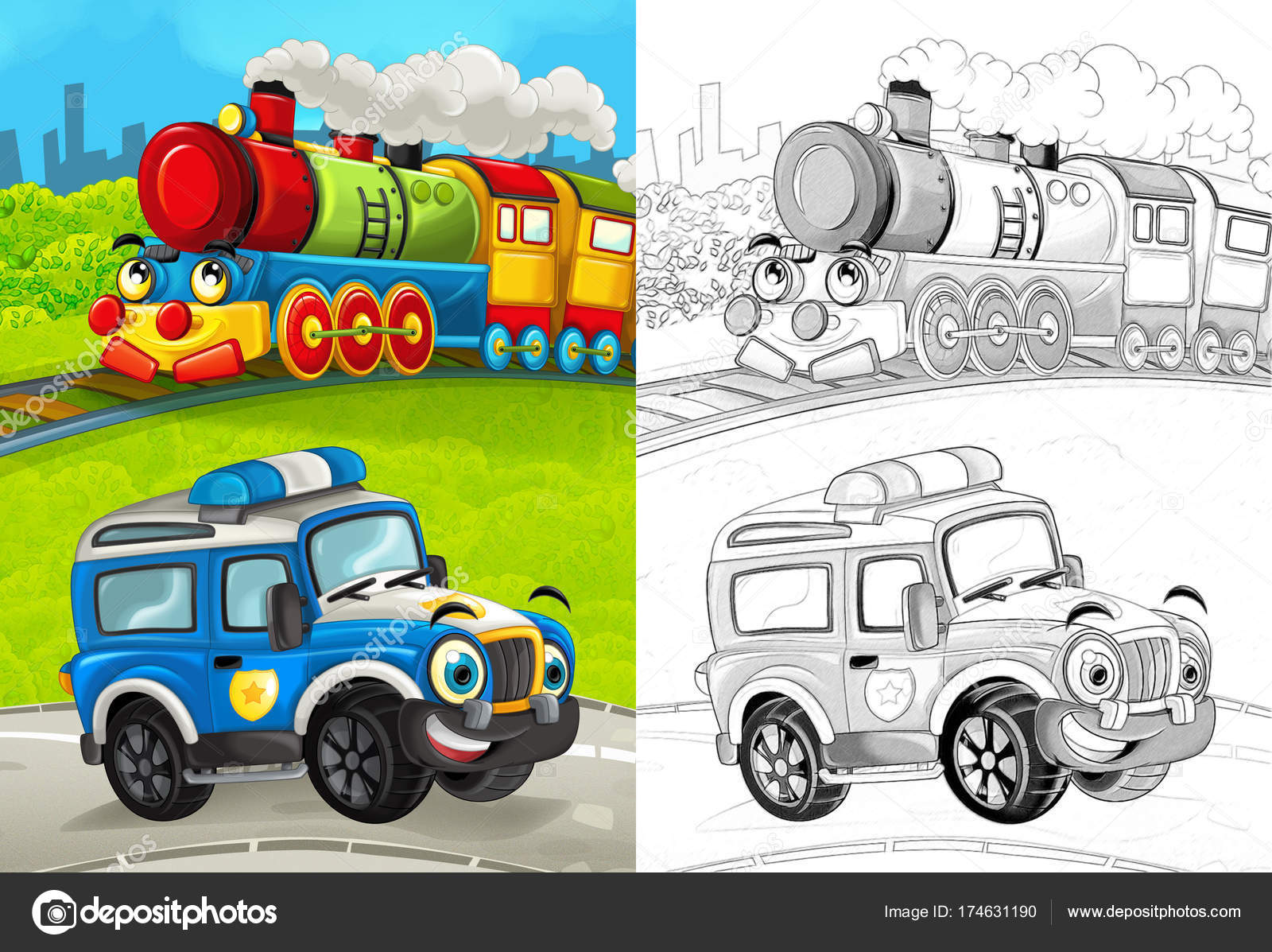 Kleurplaten Voertuigen Trein.Cartoon Scene Met Gelukkig Politie Auto Weg Trein Met Kleurplaten