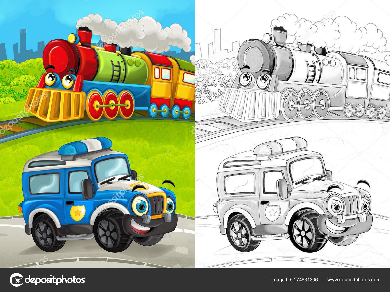 Escena Dibujos Animados Con Coche Policía Feliz Camino Tren Para ...