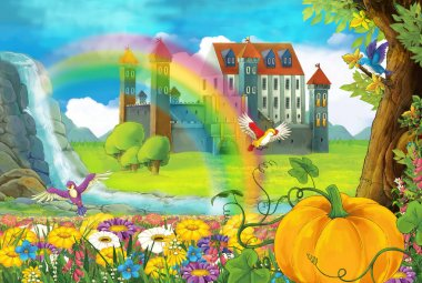 cartoon beautiful nature scene with waterfall rainbow big pumpkin and medieval castle - illustration for children