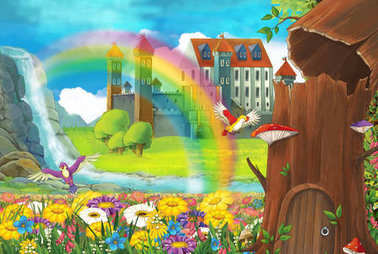 cartoon beautiful nature scene with waterfall rainbow house hidden in old tree and medieval castle - illustration for children