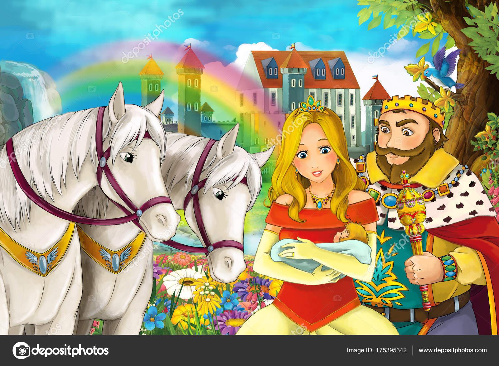 馬虹と若者の背景にある宮殿で結婚カップルの男と女の美しいペアで漫画の