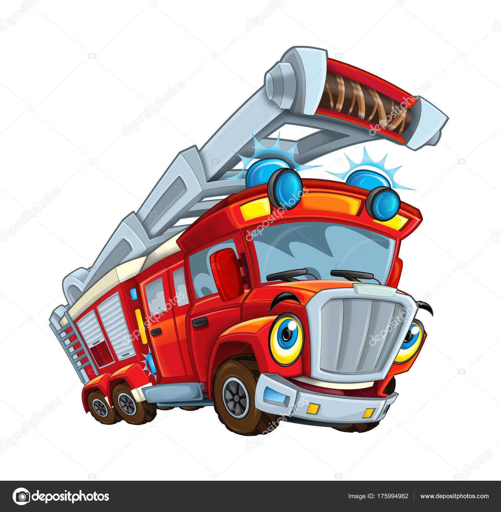Cartoon happy funny cartoon fire fireman truck illustration children stock photo illustrator - Dessin pompier humoristique ...