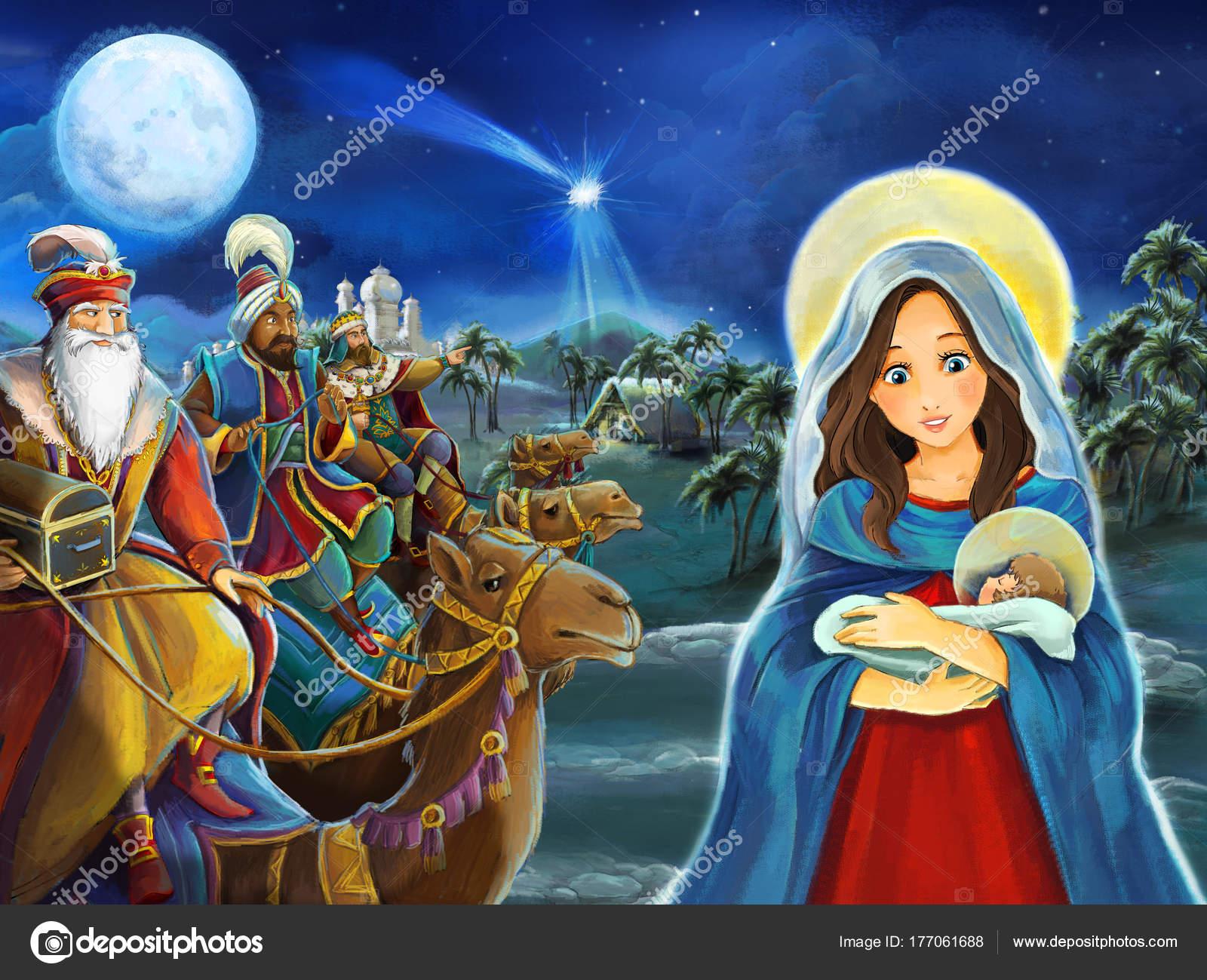 Imágenes Jesus Y Maria Para Descargar Escena Dibujos Animados Con