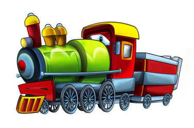 cartoon happy locomotive - illustration for children