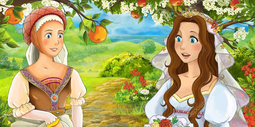 Cartoon happy girls under apple tree near the meadow - bride - illustration for children