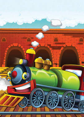 cartoon scene with happy and funny looking train - illustration for children
