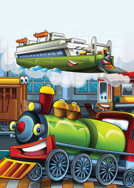 cartoon scene with happy and funny looking trains and boat - illustration for children