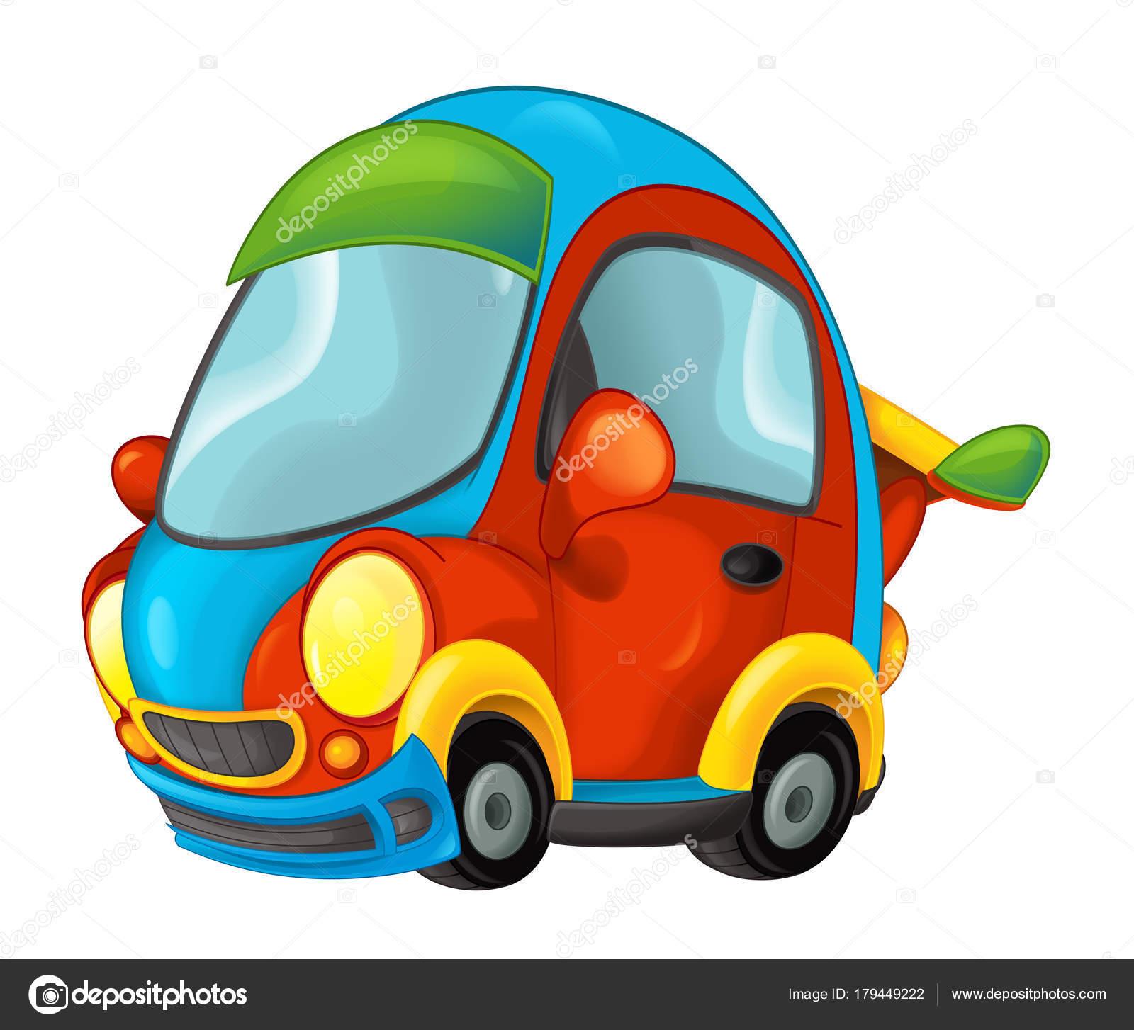 Desenho Animado Engraçado Olhando Carro Ilustração Para