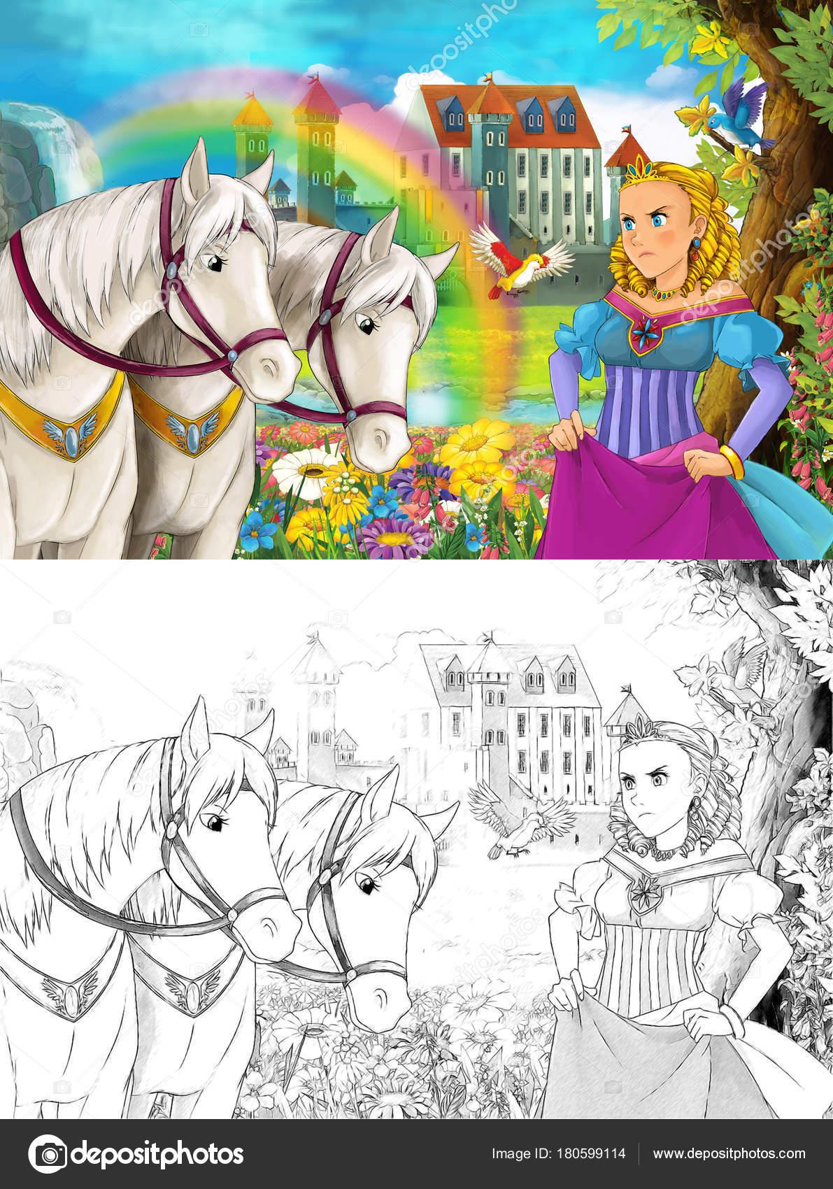 Kleurplaten Waterval.Cartoon Scene Met Jonge Prinses Kijken Twee Witte Paarden Buurt