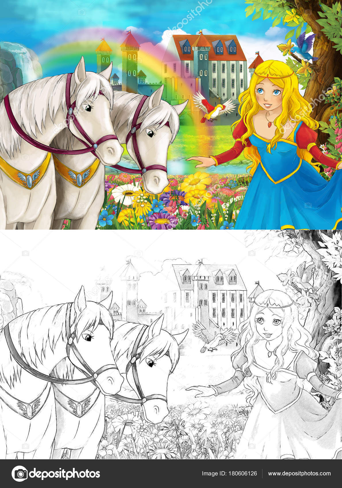 Escena Dibujos Animados Con Joven Princesa Viendo Dos Caballos ...