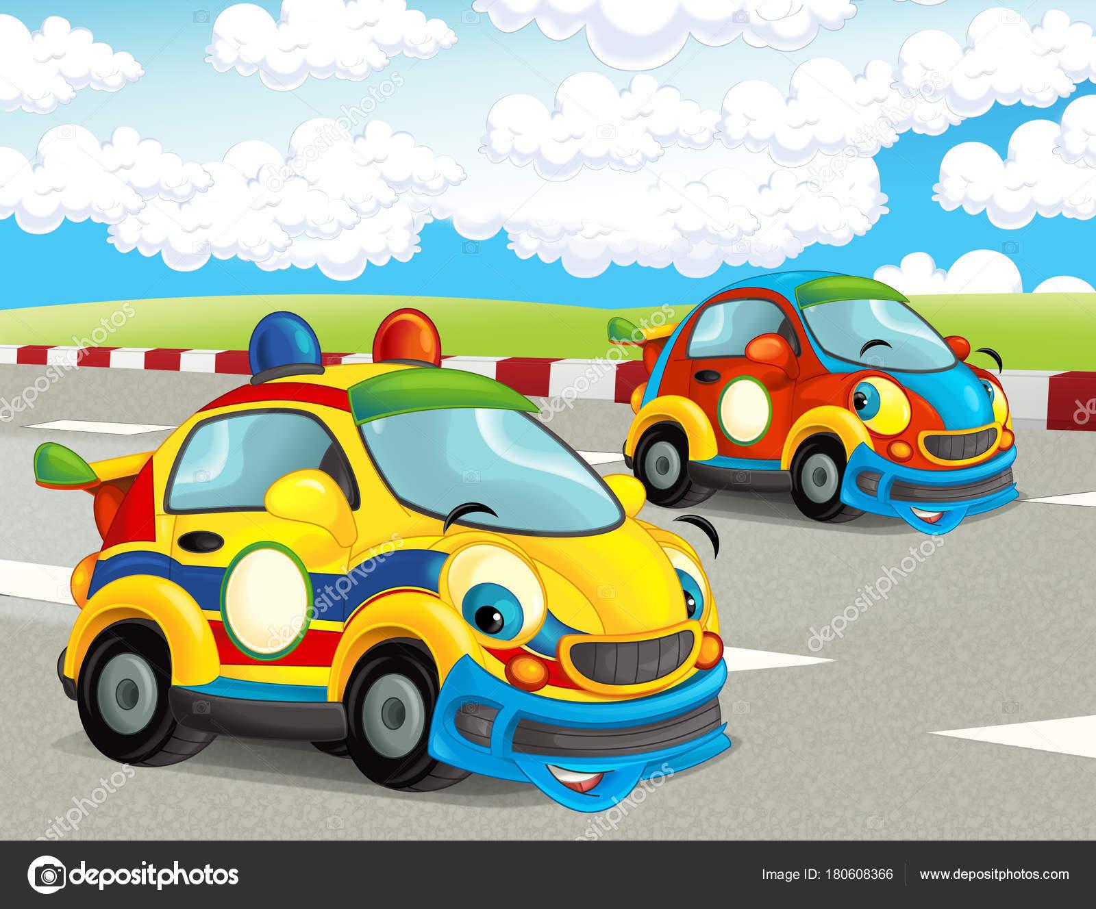 dessin anim drle et joyeux la recherche voitures de course sur piste de course illustration pour enfants image de illustrator_hft - Voiture De Course Dessin Anim