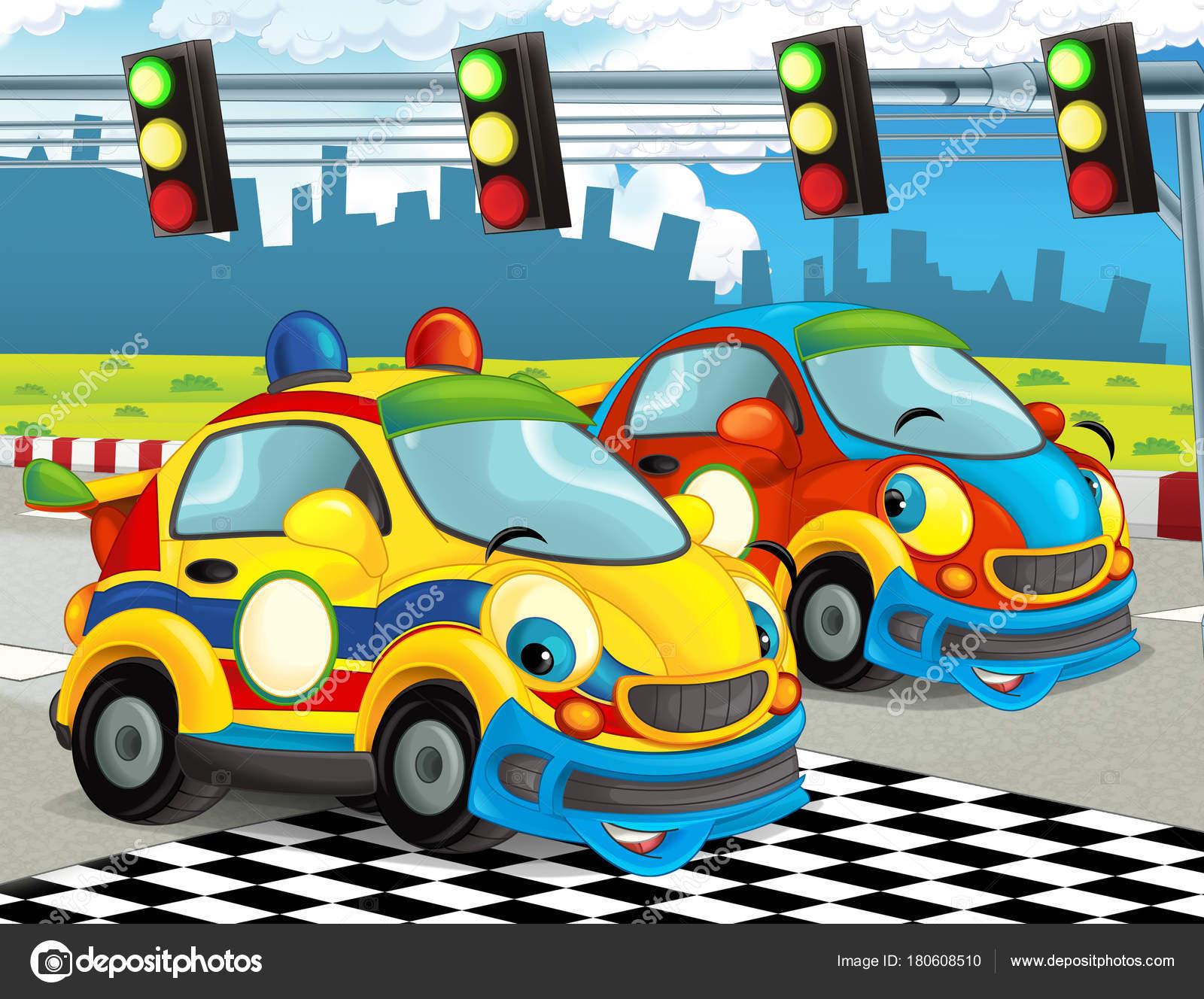 Cartoon Funny Happy Looking Racing Cars Race Track Illustration