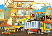 Fotografie Cartoon-Szene mit Arbeiter auf der Baustelle - Bauherren verschiedene Dinge - Illustration für Kinder