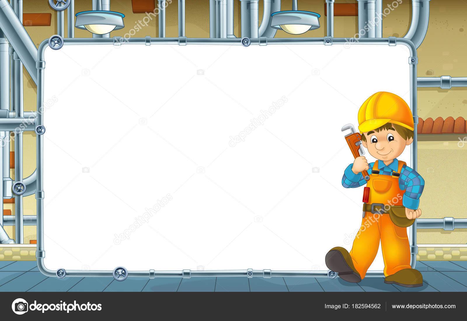 Escena Dibujos Animados Con Constructor Trabajando Sótano Con ...