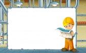 Fotografia scena del fumetto con generatore lavora nel seminterrato - con cornice - spazio per testo - illustrazione per bambini