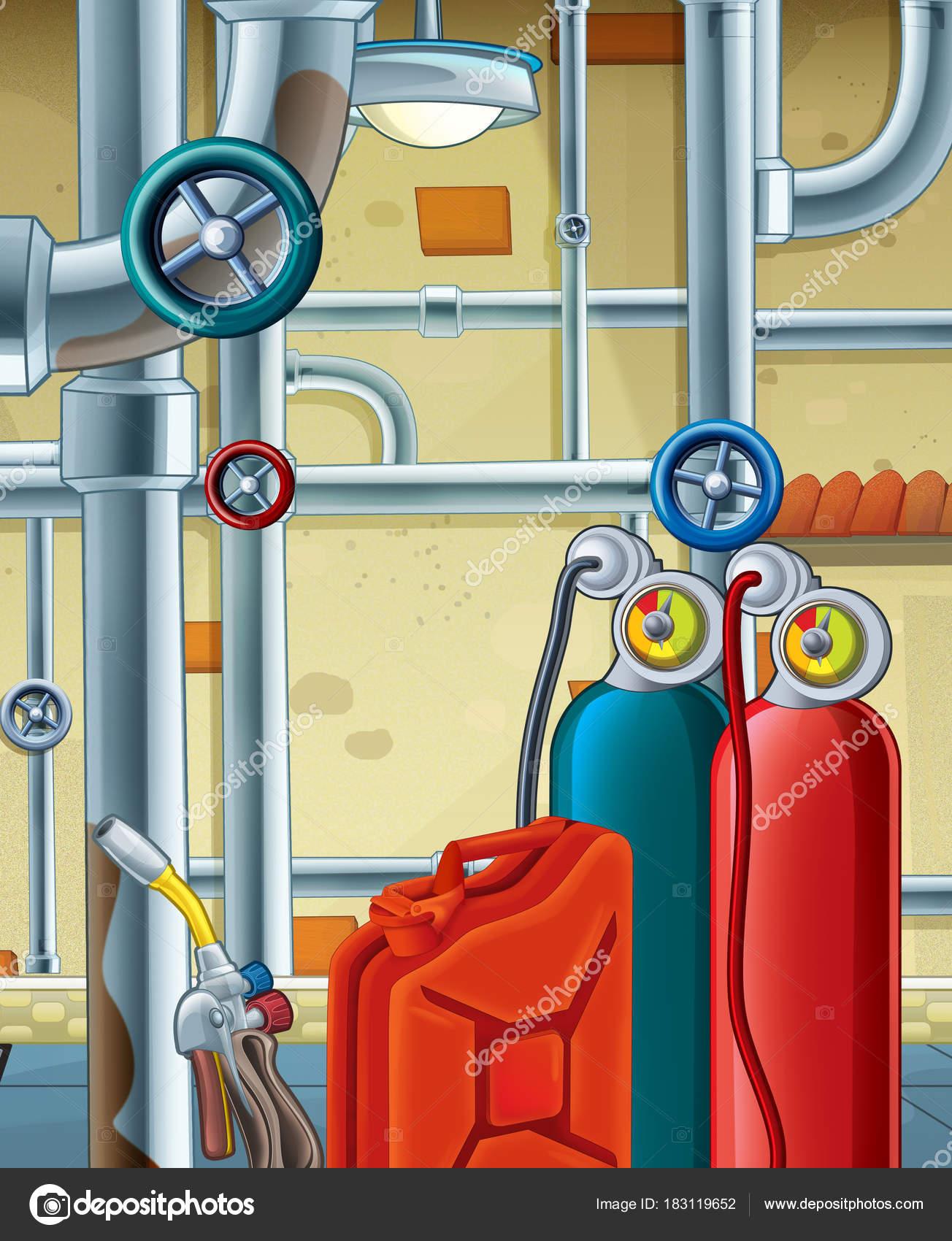 Escena Dibujos Animados Con Diferentes Herramientas Ilustración ...