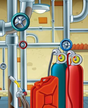 cartoon scene with different tools in the basement - frame for text - white background - illustration for children