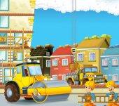 Fotografie Cartoon-Szene mit Baustelle - Arbeitnehmer machen einige Job - Illustration für Kinder