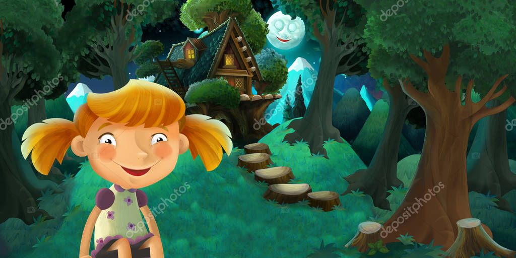 cartoon scene with girl resting near the forest and beautiful wooden house - romantic night - illustration for children
